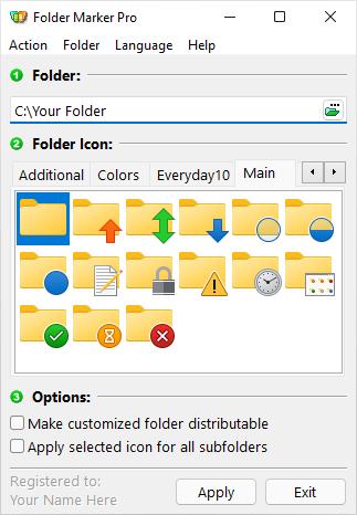 Hauptfenster von Folder Marker